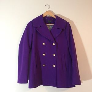 J.Crew Factory 'Majesty' purple Pea Coat {Size 8}